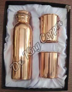 Plain Copper Bottle with Glass Set