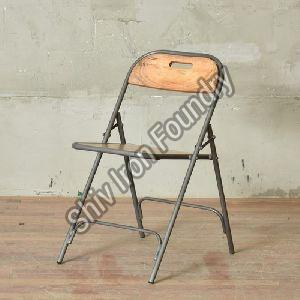 Iron Folding Chair with Wooden Seat