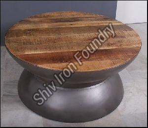 Round Wooden Top Coffee Table