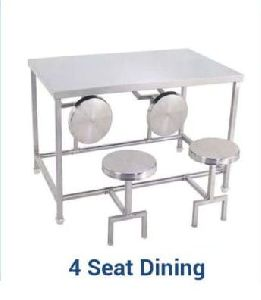 Stainless Steel 4 Seater Dining Table