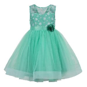 Green Sleeveless Girls Frock