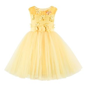 Yellow Sleeveless Girls Frock