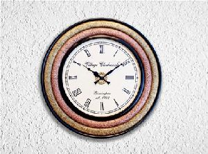 Wooden Brass Copper Wall Clock