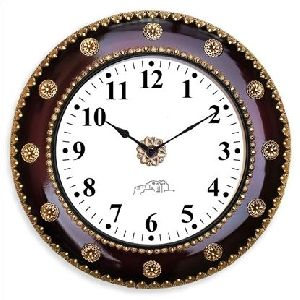 Wooden Polished Metal Wall Clock