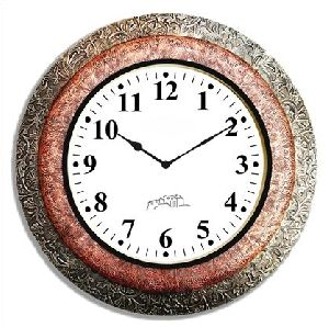 Wooden White Metal & Copper Wall Clock