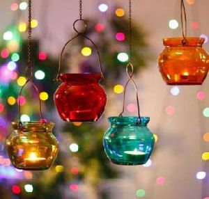 Glass Hanging Candle Holder