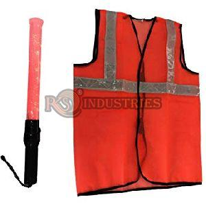 1 Oranage RJ + 1 BRG Safety Reflective Jacket & Traffic Baton Combo