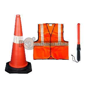 Red Black Orange Green Safety Reflective Jacket & Traffic Baton Combo