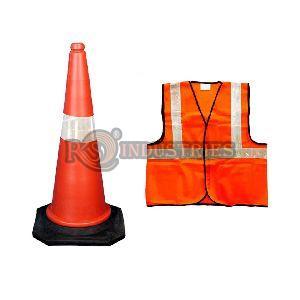 Red Black Orange Safety Reflective Jacket & Traffic Baton Combo