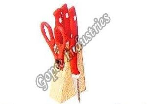 Wooden Knife Set with Scissor