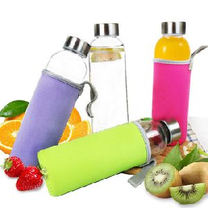 Glass Water Bottle With Cover
