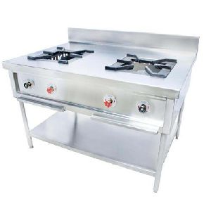 Stainless Steel Double Burner Cooking Range