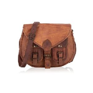 Coffee Leather Sling Bag
