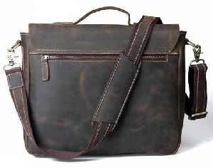 Handmade Vintage Leather Briefcase Messenger Bag