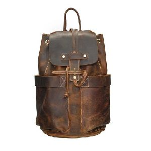 Leather Drawstring Bucket Backpack