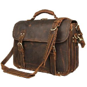 Leather Office Briefcase Messenger Bag