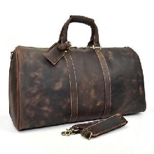 Leather Travel Duffel Luggage Bag
