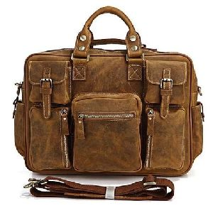 Multi Pocket Leather Briefcase Messenger Bag