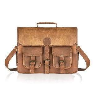 Vintage Leather Briefcase Messenger Bag