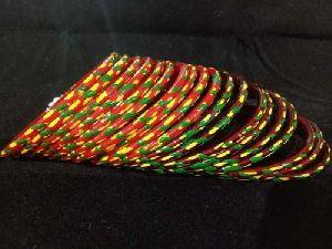 Cross Print Glass Bangles