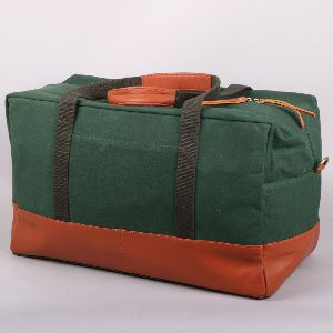 Leather and Canvas Duffle Bag
