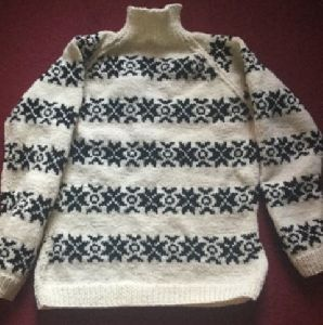 Hand Knit Jacquard Pullover Sweater