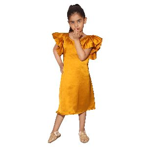 Girls Satin Cotton Musterd Yellow Frock