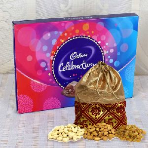 Crunchy Assorted Dry Fruit Polti with Cadbury Celebration Chocolate Pack