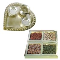 Dry Fruits N Silver Plated Paan Shaped Aarti Thali