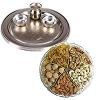 Gift of Pooja Thali N Assorted Dry Fruits