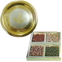 Mixed Dry Fruits N Gold Plated Thali