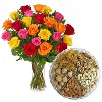 Mixed Roses with Assorted Dry Fruits Combo