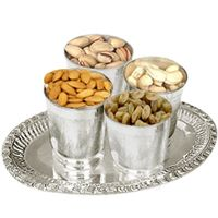 Silver Plated Glasses and Tray with Dry Fruits