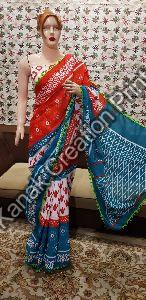 Cotton Hand Block Printed Sarees