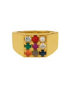 Gold Plated Navratna Statement Ring