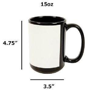 Sublimation Black Patch Mug 15oz