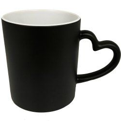 Sublimation Heart Handle Magic Mug Black
