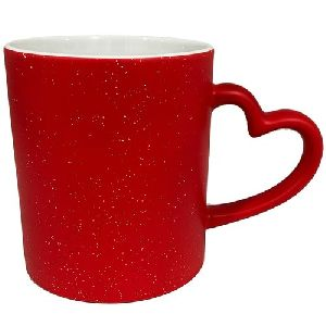 Sublimation Sparkle Heart Handle Magic Mug