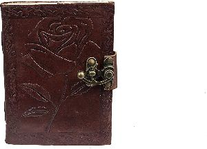 leather engraved rose brown 7 inches vintage diary