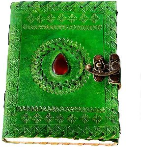 Genuine Leather & Handmade Paper Stone Diary Notebook Journal for Personal Use or Gift