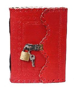 Handicrafts Leather Diary Journal Notepad Writing Book with Lock & Key Handmade Papers