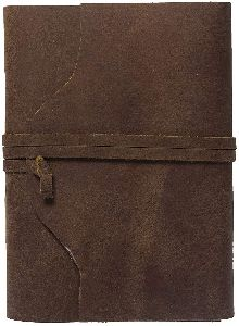 Handmade Buffalo Leather Journal  Dark Brown 7x5 Blank Pages Tanned Color