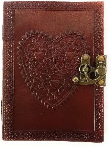 handmade large 8inch embossed leather personal diary