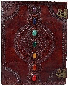 Leather Journal Seven Chakra Medieval Stone Embossed Handmade Book of Shadows Notebook Office Diary
