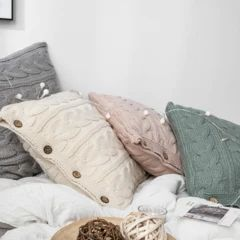 Clara Knitted Cushion Pillow with Core & Buttons