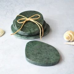 Pebble Green Granite Marble Coasters