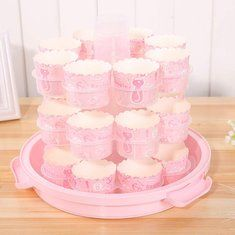 24 Cupcake Carrier Cake Carrier Holder Portable 3 Tier Cupcake Transporter Muffin Container