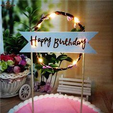 Happy Birthday Cake Topper With LED Cake Decorations