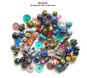 Plain & Murano Type Big Hole Mix Glass Beads