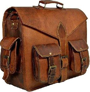 Leather Vintage Small Full Flap Brown Messenger Bag